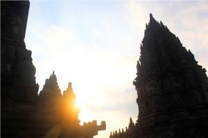 sunset prambanan temple